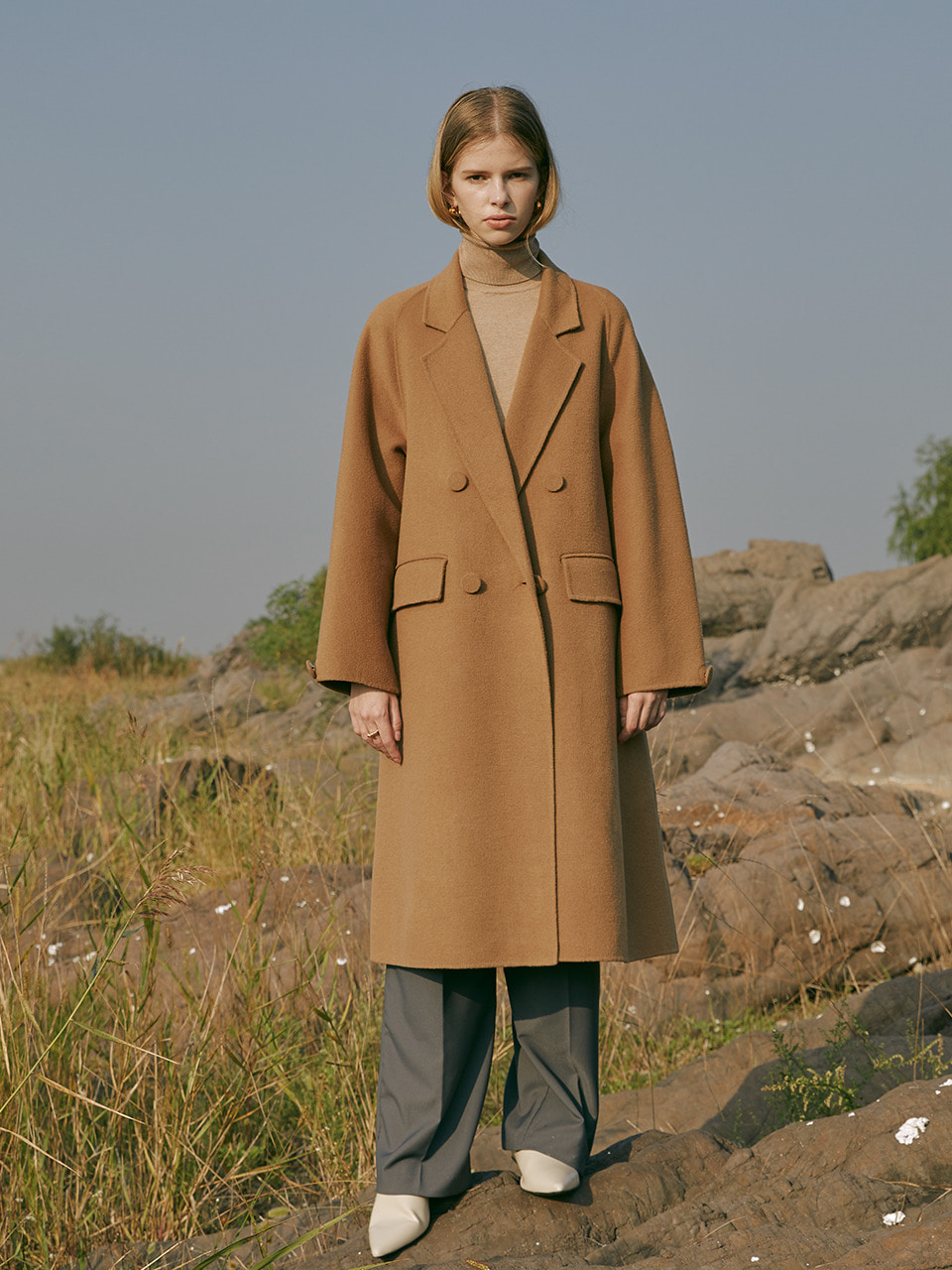 Premium handmade cashmere blend wool wrapped button coat in camel