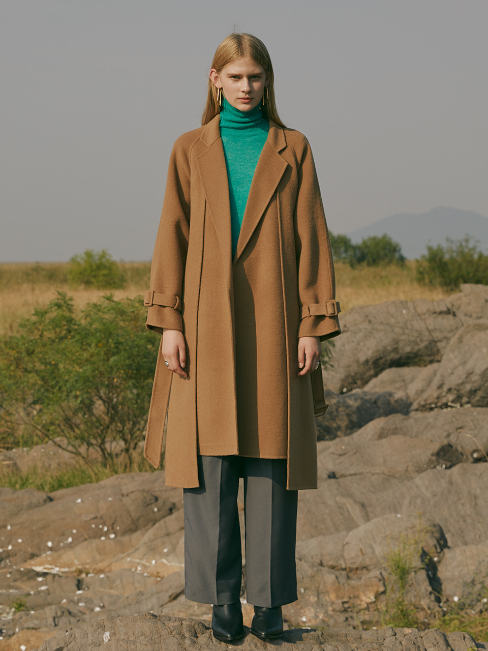Premium handmade cashmere blend wool double layer belted coat in camel