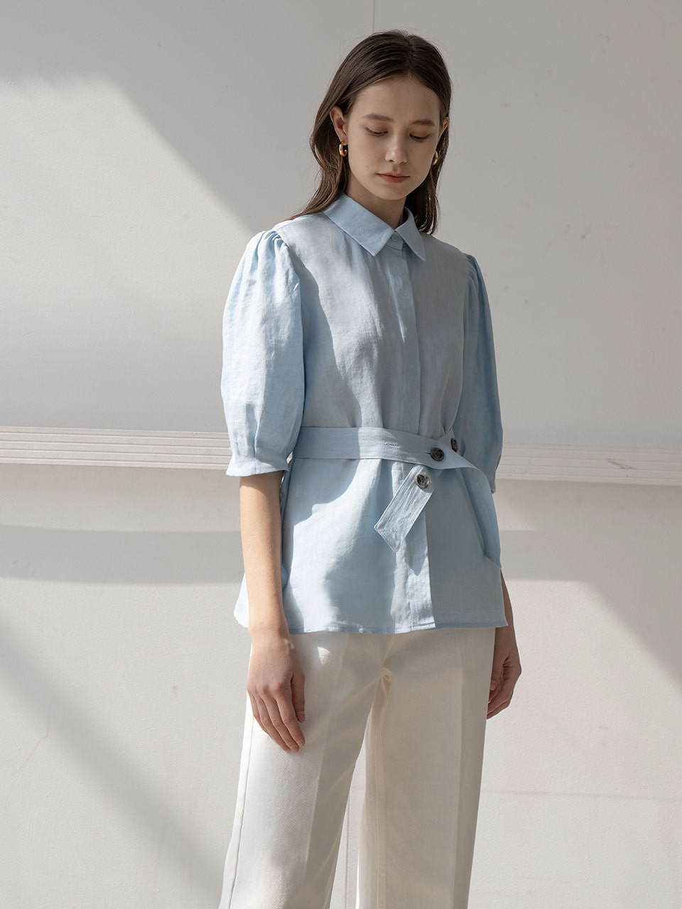 Belted puff blouse in sky blue