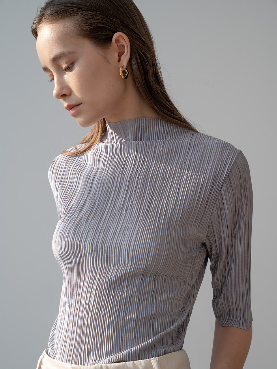 New multi pleated mockneck blouse in grey